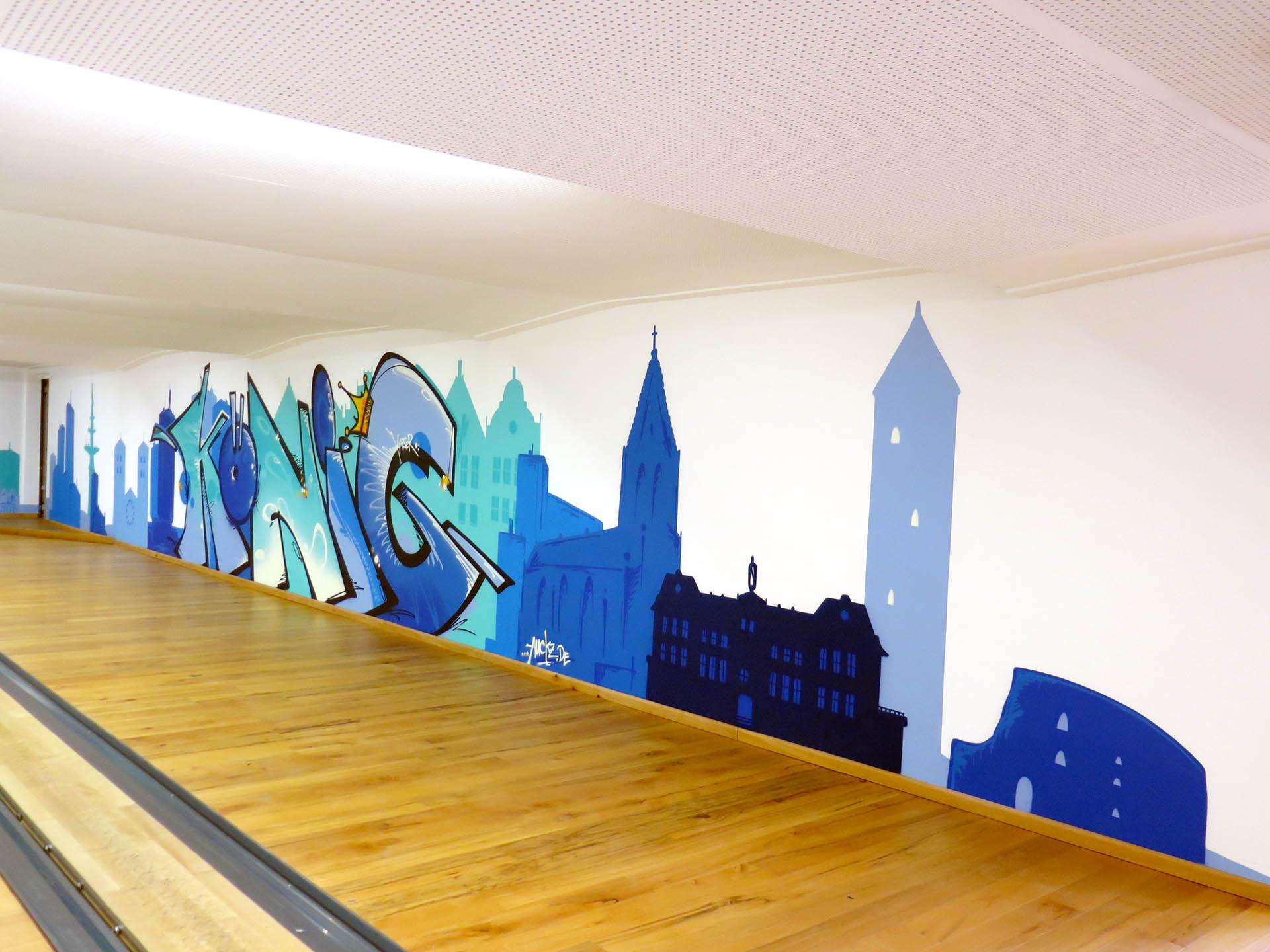 Kegelbahn, Design, Graffiti, Kegel, König, Polizeiakademie, Sprayen, Raum, Bennet Grüttner