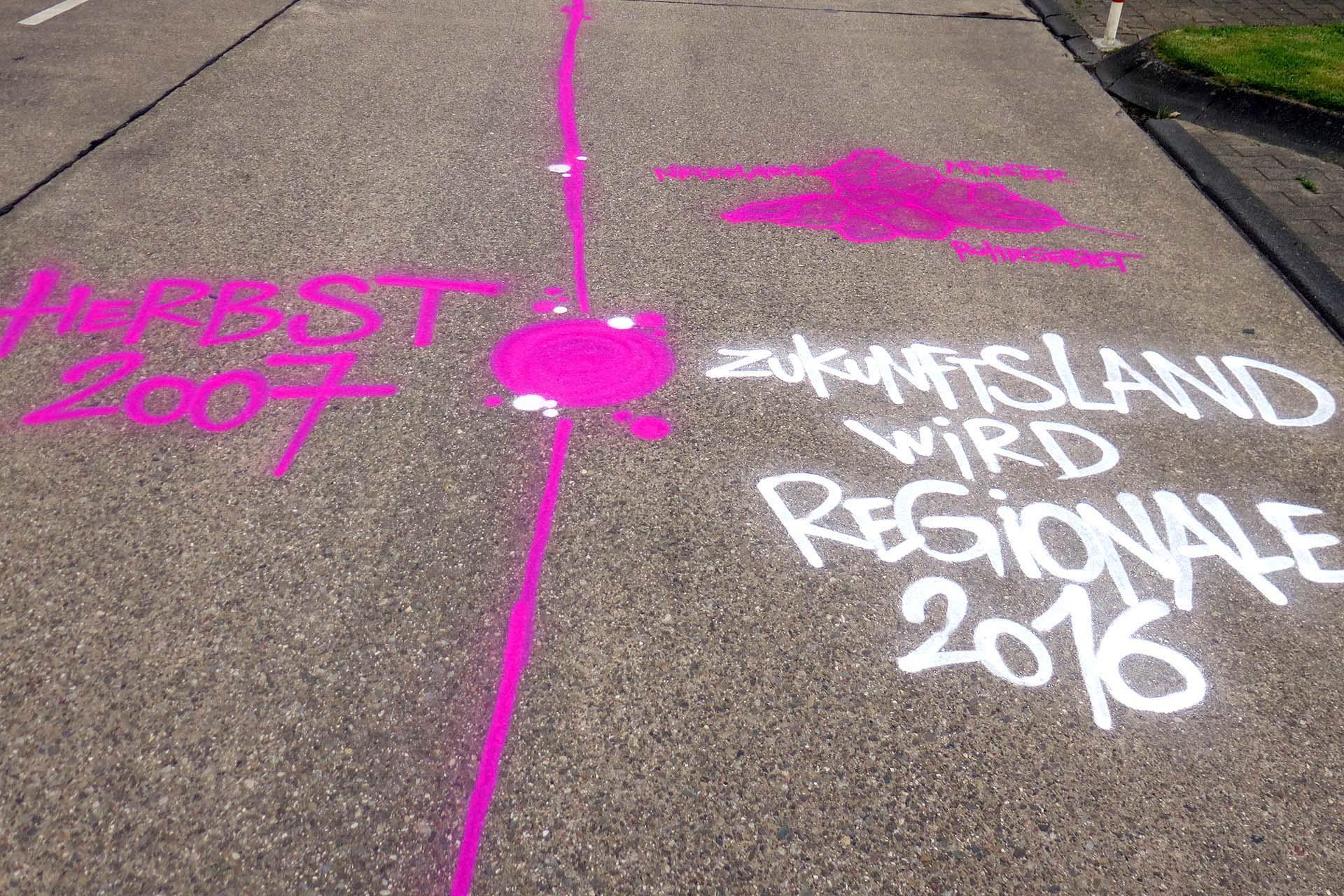 Bodenbemalung, Regionale, Graffiti, Zukunftsland, Coesfeld, Sprayen, Urban, Boden, Bennet Grüttner, Strasse