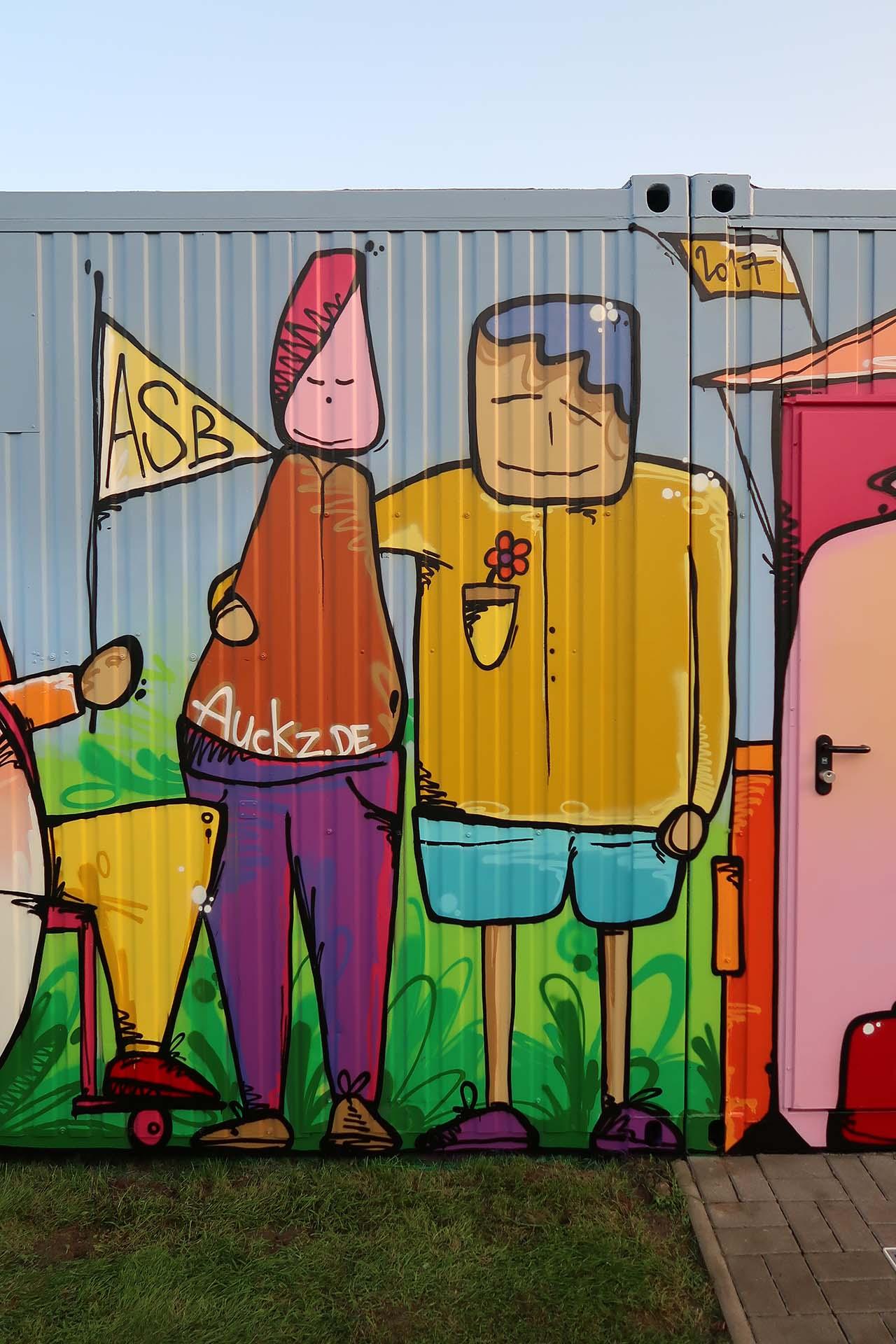 Graffiti, Asb, Münster, Auckz, Container, Sprayen, Figuren, Menschen, Bennet Grüttner