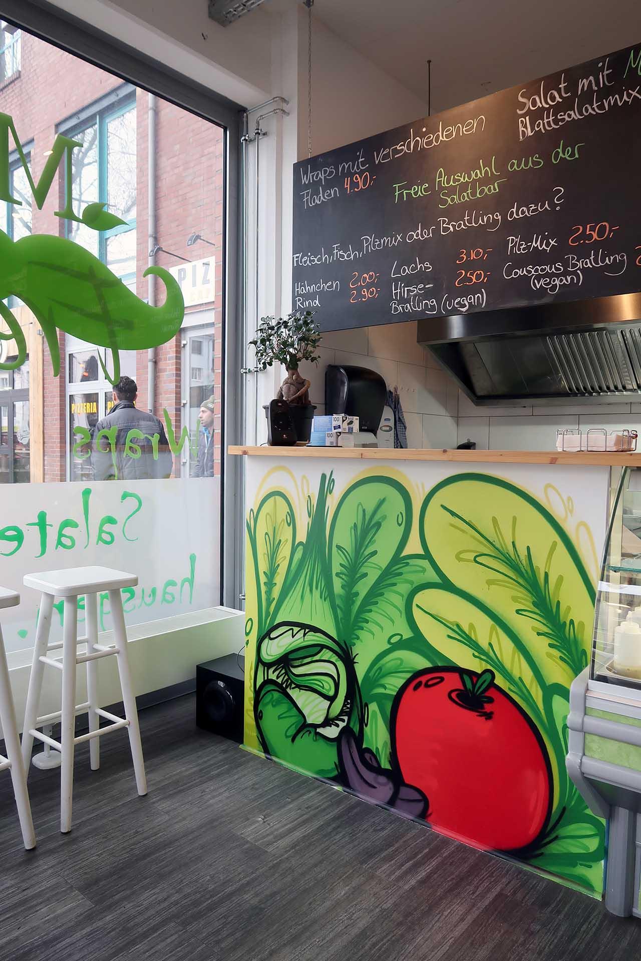 Laden, Graffiti, Münster, Fresh, Salat, Gemüse, Auckz, Sprayen, Design, Bennet Grüttner