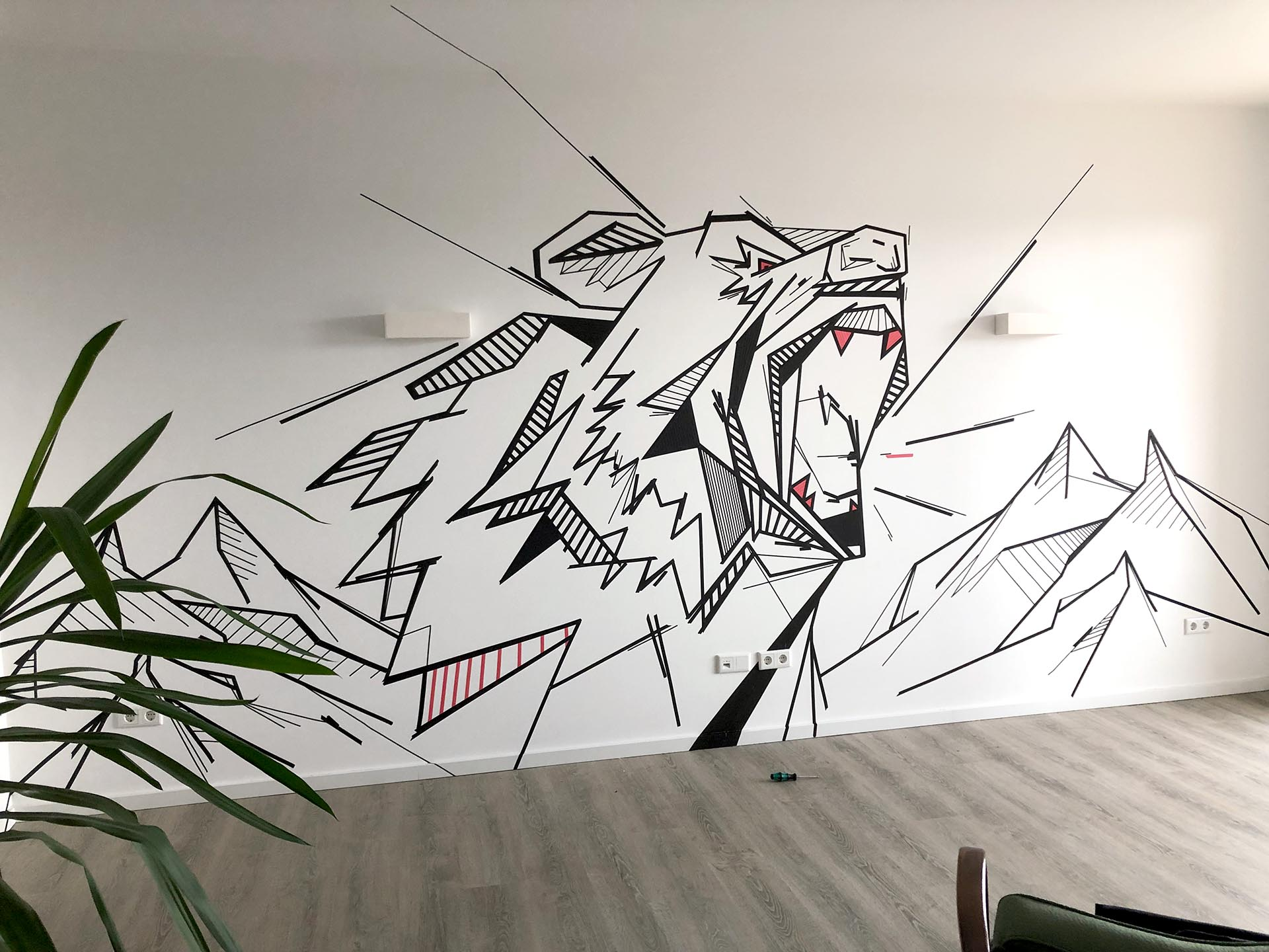 Tape-Art, Graffiti, Münster, Büro, Foyer, Design, Grafik, Piratelove, Auckz