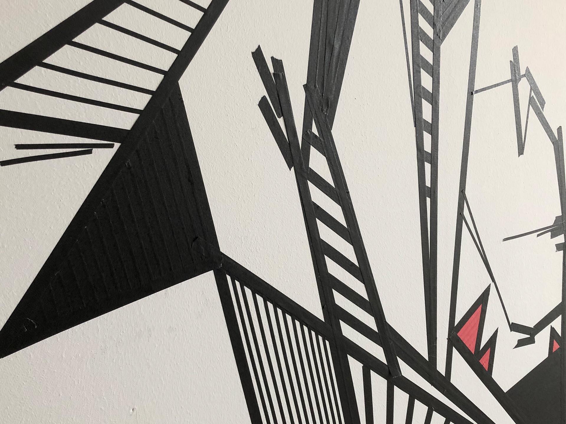 Tape-Art, Graffiti, Münster, Büro, Foyer, Design, Grafik, Piratelove, Auckz