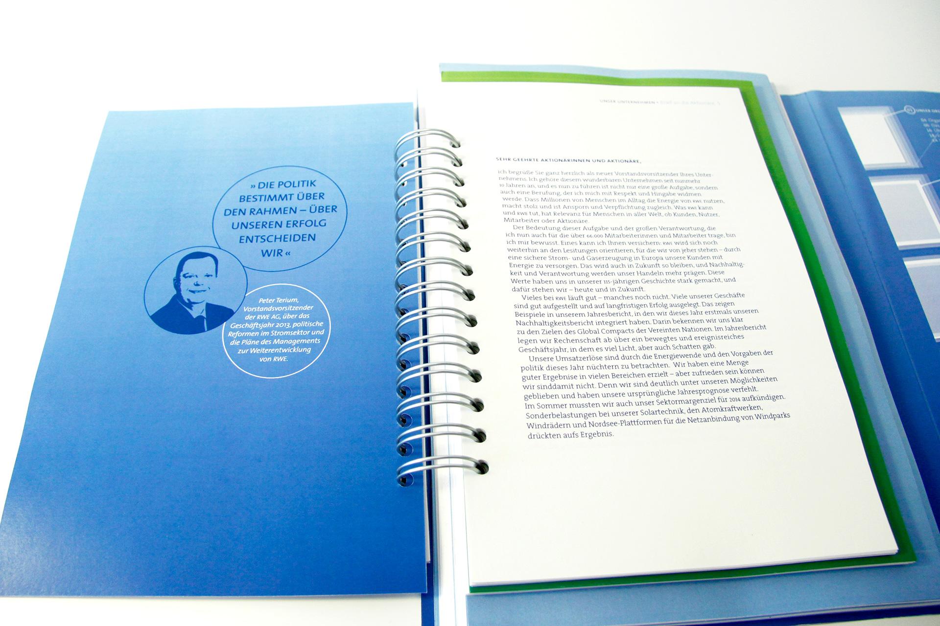 Geschäftsbericht, Kommunikation, Design, Layout, Konzept, Grafik, Inforgrafiken, RWE, Fh Münster, CCI, Bennet Grüttner
