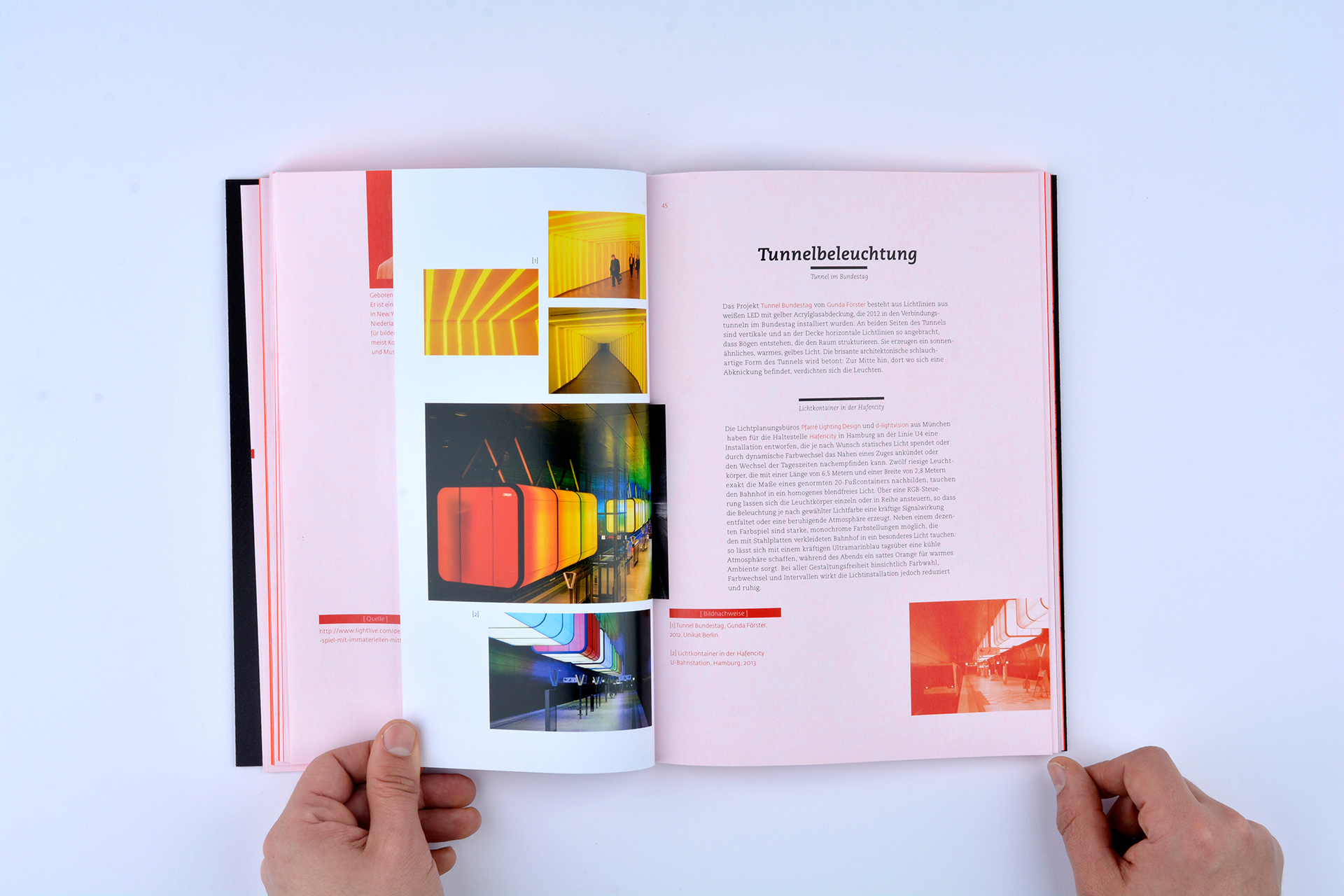 Buchgestaltung, Editorial, Licht, Konzept, Rot, Japanische Bindung, Design, Fh Münster, Bennet Grüttner