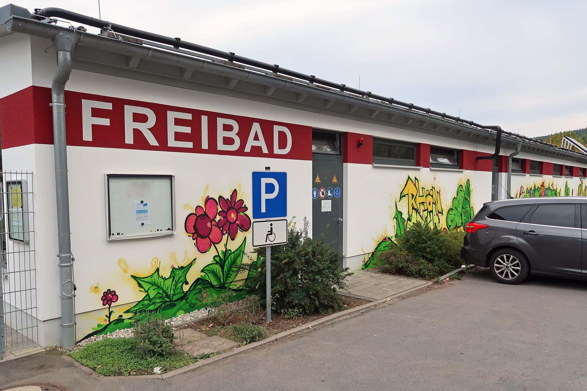 Graffiti im Skatepark in Bischofsheim, Frühling