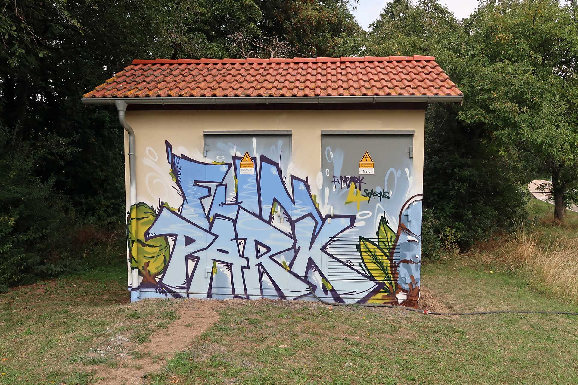 Graffiti im Skatepark in Bischofsheim, Winter
