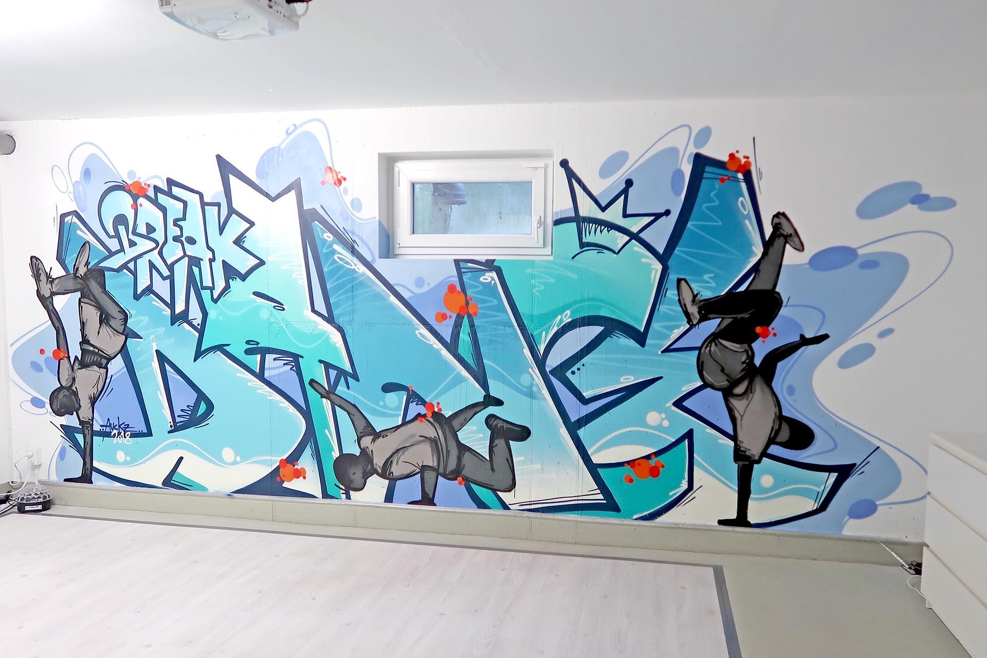 Graffiti Wand Auckz Break Dance