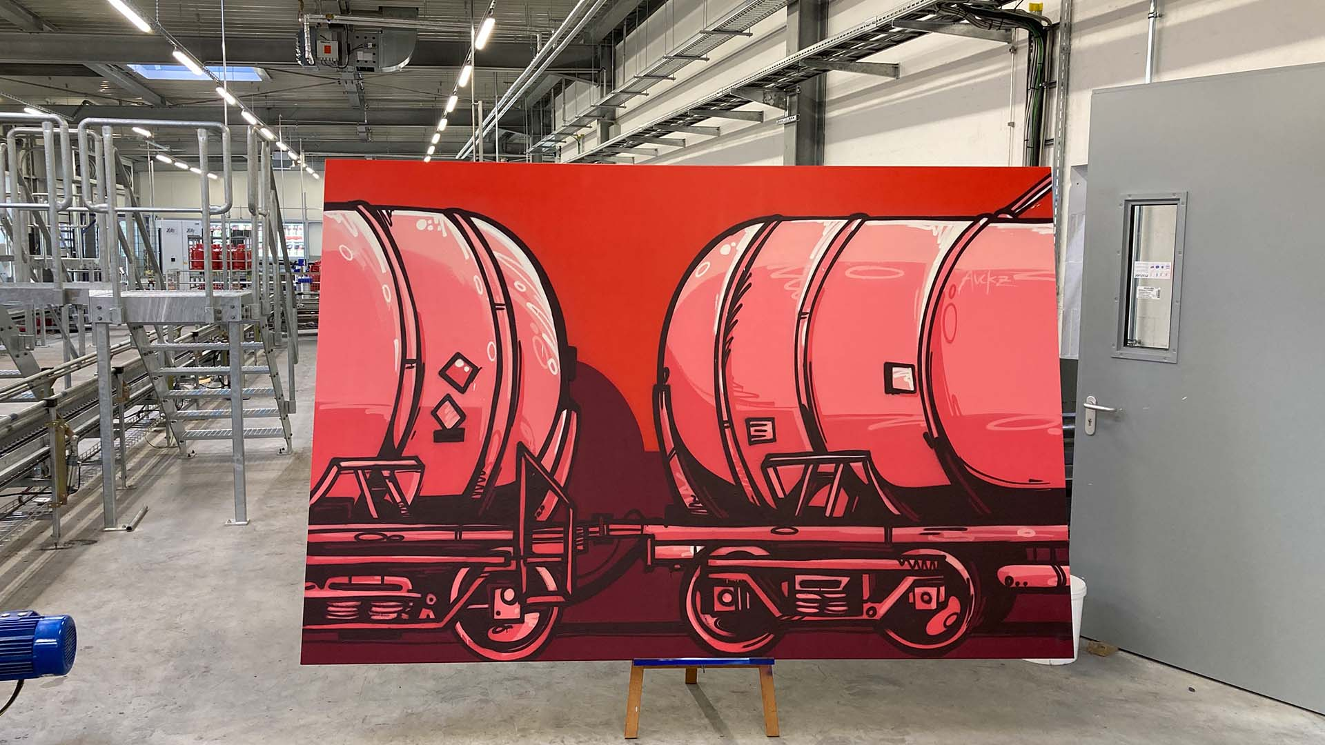 Leinwand, Graffiti, Caratgas, Unternehmen, Firma, Krefeld, Gaswerk