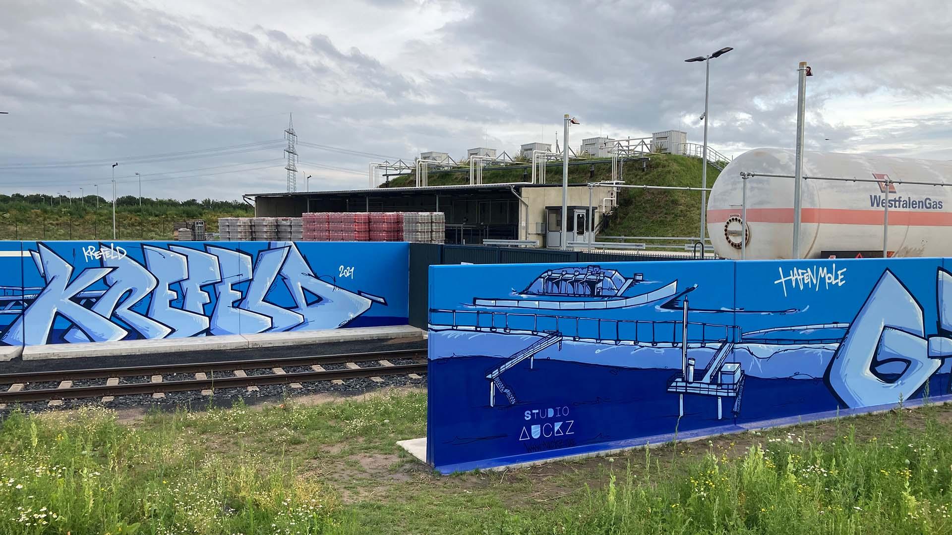 Gaswerk, Graffiti, Caratgas, Unternehmen, Firma, Krefeld