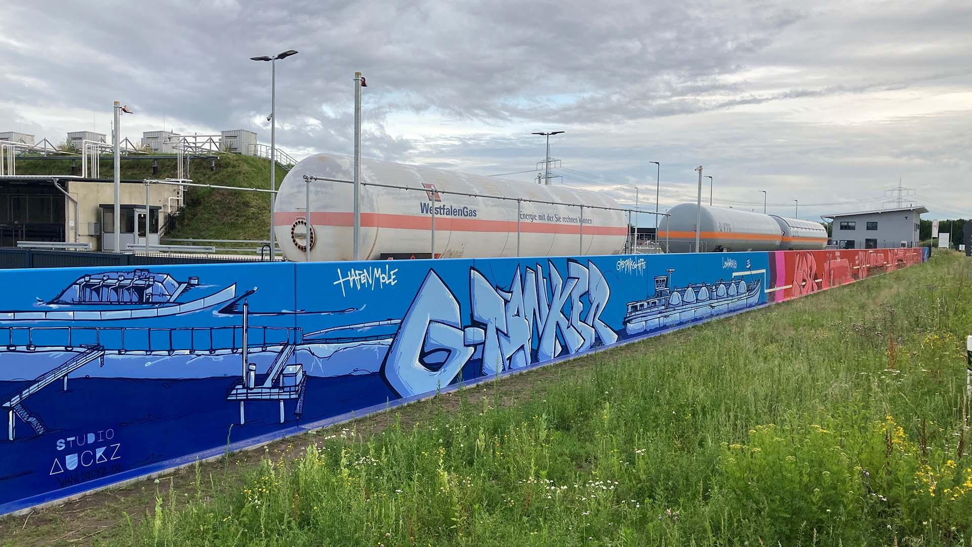 Fassade, Graffiti, Caratgas, Unternehmen, Firma, Krefeld, Gaswerk