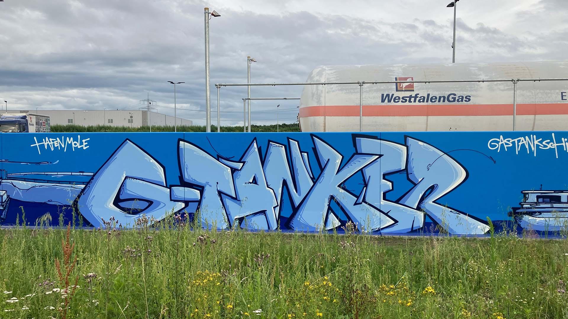 Tanker, Graffiti, Caratgas, Unternehmen, Firma, Krefeld, Gaswerk
