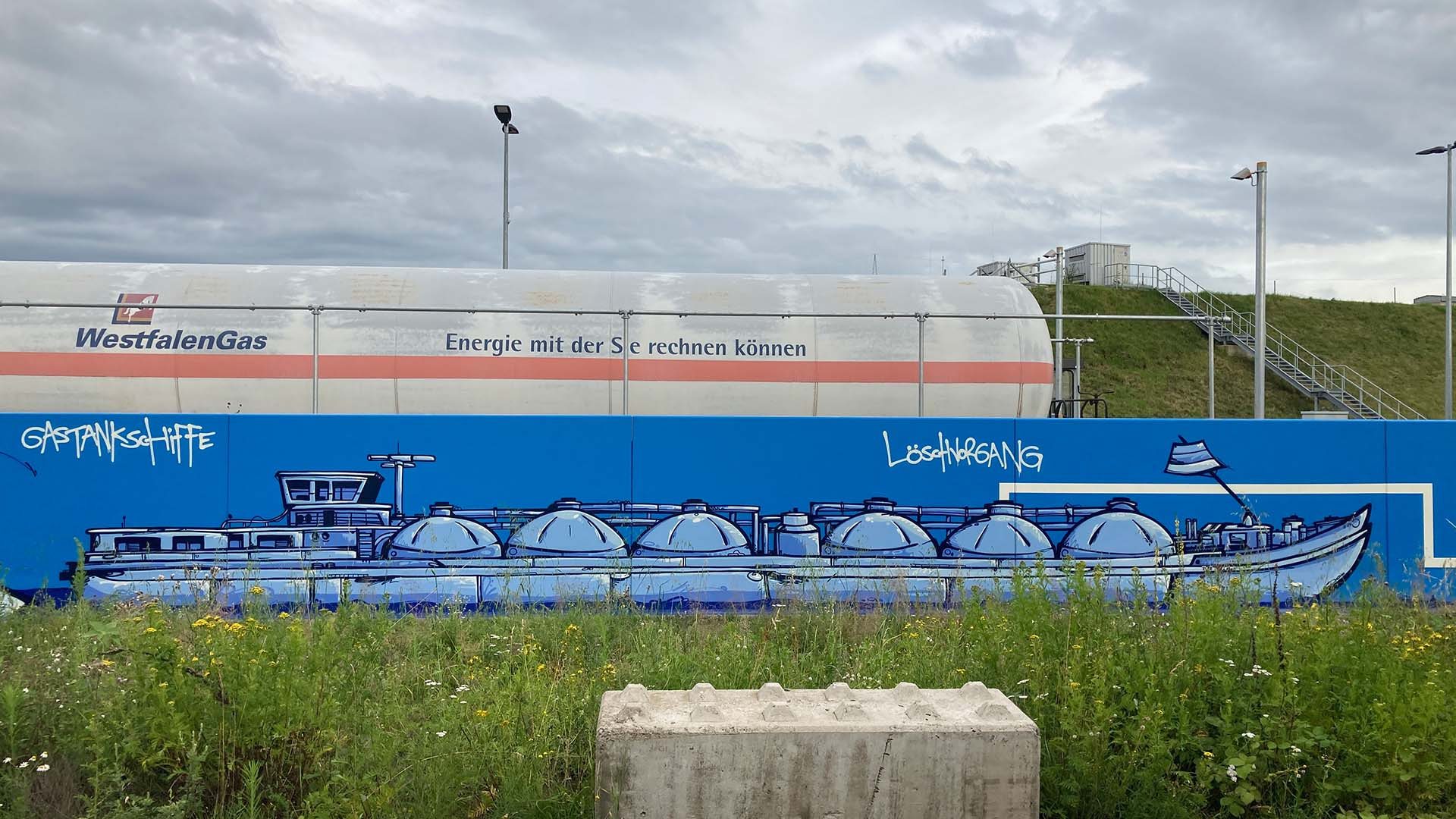 Schiff, Graffiti, Caratgas, Unternehmen, Firma, Krefeld, Gaswerk