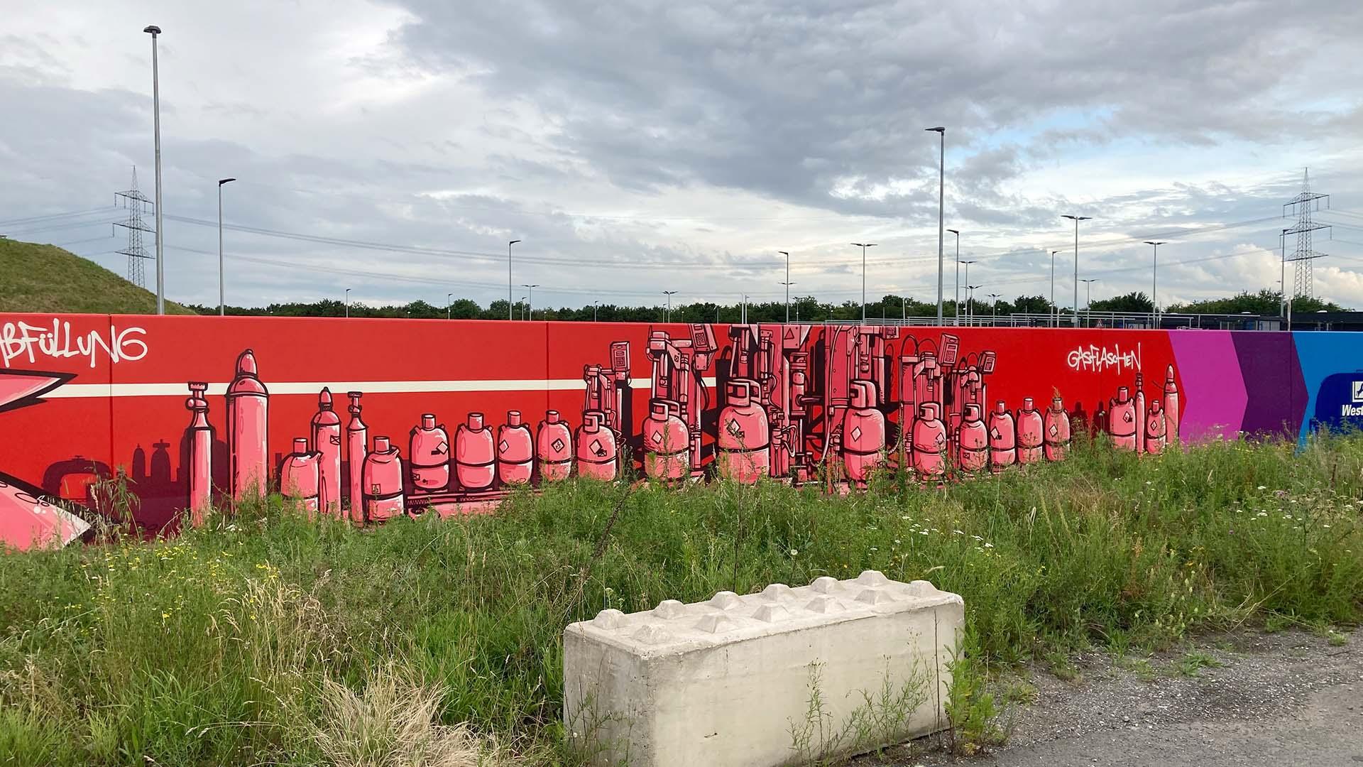 Graffiti, Caratgas, Unternehmen, Firma, Krefeld, Gaswerk